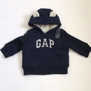Gap Navy Hoodie with Sherpa Lining